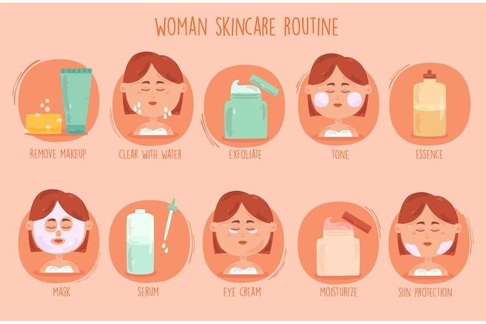 Frauen Skincare Routinemäßige Illu