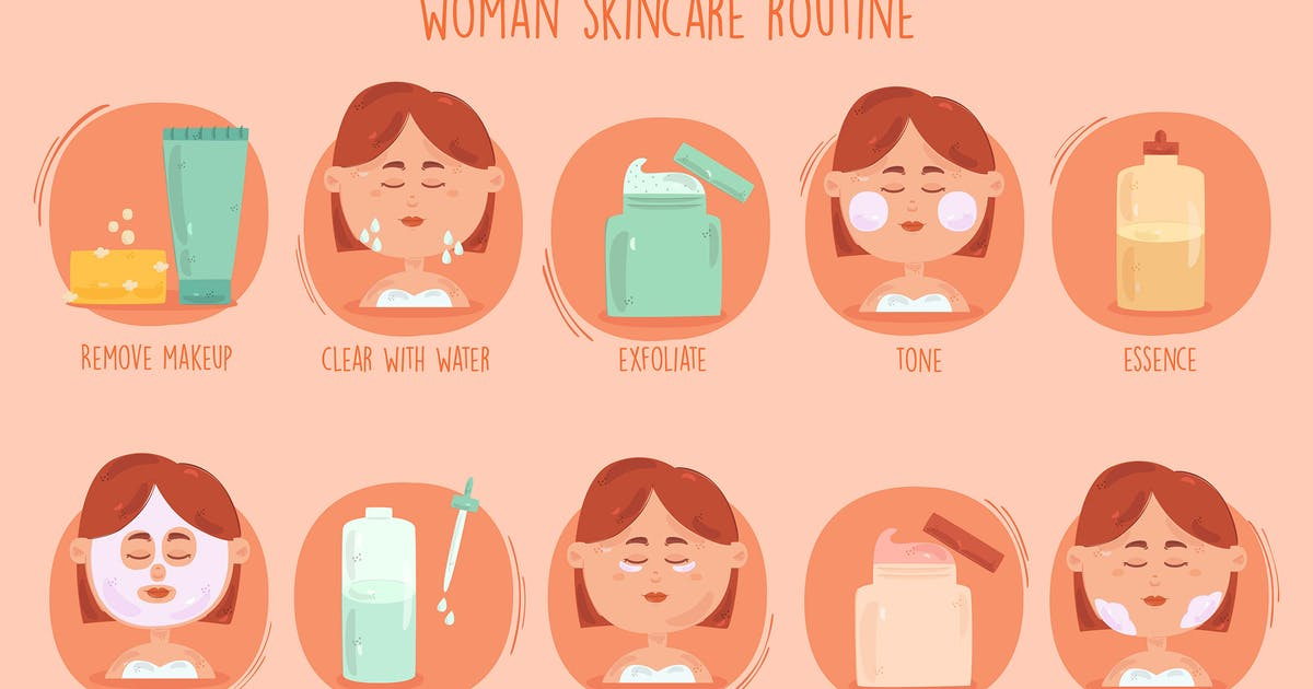 Download Women Skincare Routine Illustration by april_arts