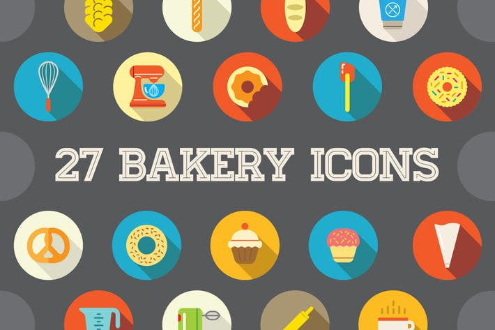Thumbnail for 27 Vector Bakery Flat Icons