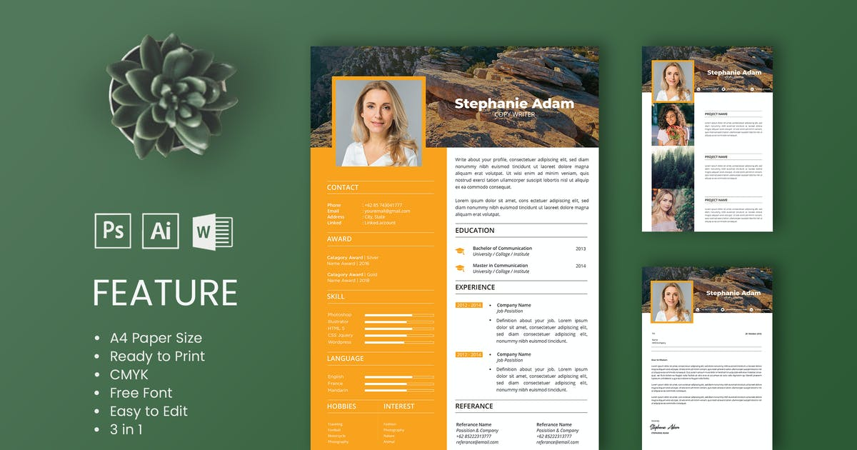 Download Professional CV And Resume Template Adam by WPBootstrap