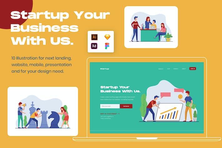 Thumbnail for Business Team Startup Illustration Header