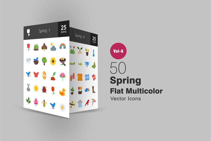 Thumbnail for 50 Spring Flat Multicolor Icons