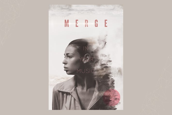 Cover Image For Merge In Your Music Flyer Poster