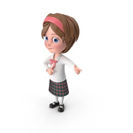 Cartoon Mädchen Direkte Aufmerksamkeit