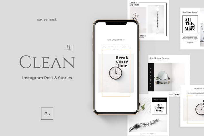 Thumbnail for Clean 1 Instagram Post & Stories