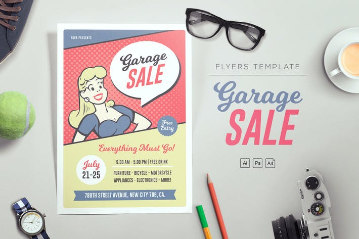 Cover Image For Pop Art Garage Sale Flyers