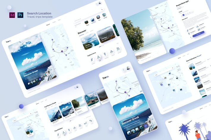 Thumbnail for Traco - Search location travel UI template