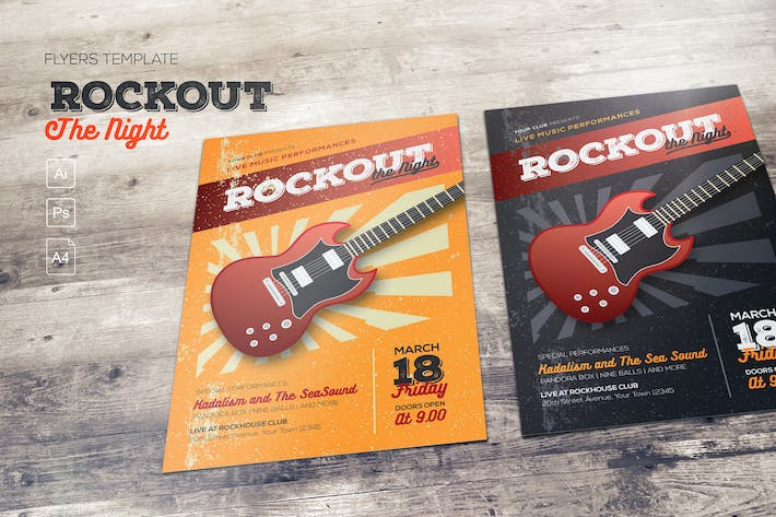 Thumbnail for Rockout the Night Flyer Template