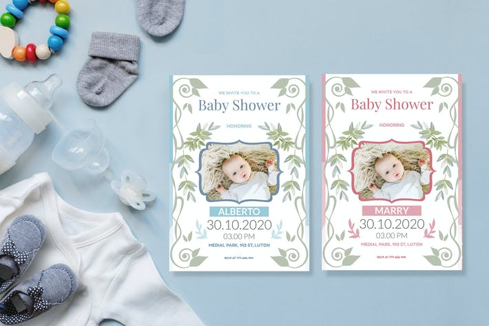 Thumbnail for Floral Art - Baby Shower Invitation