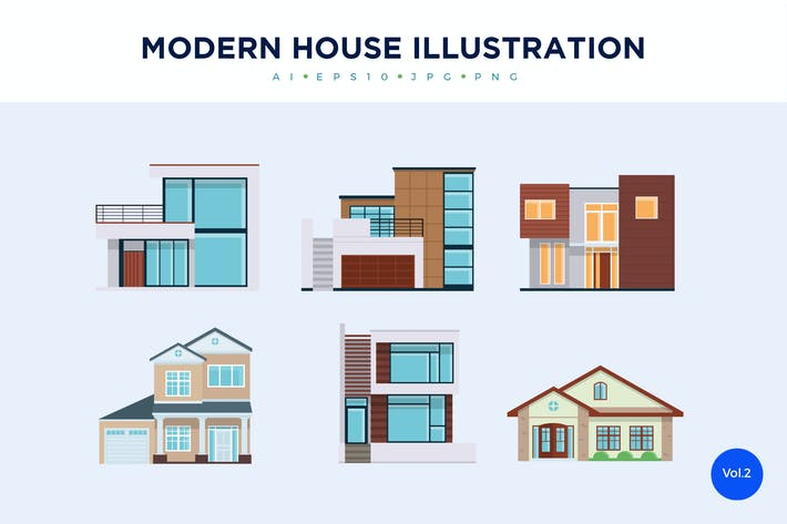 Thumbnail for 6 Modern House Vector Illustration Set 2