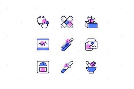 Healthcare and Medicine - Line Design Style Icons