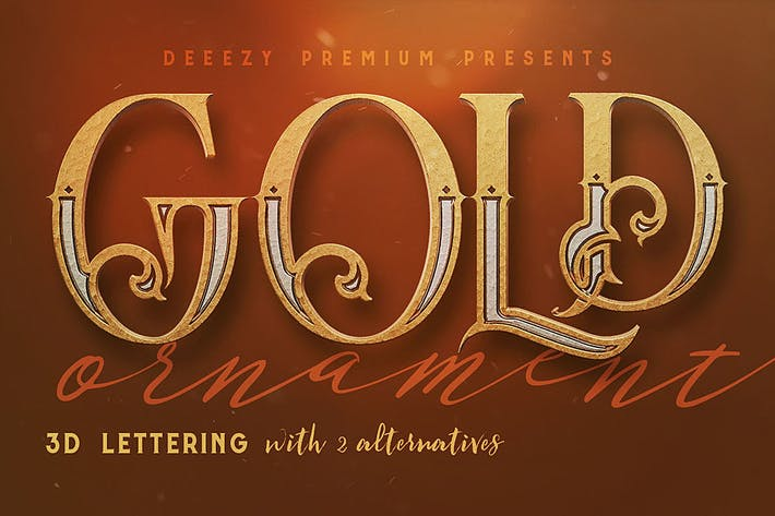 Thumbnail for Golden Ornament- 3D Lettering