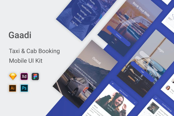 Thumbnail for Gaadi - Taxi & Cab Booking UI Kit