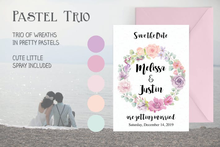 Thumbnail for Three Watercolor Wreaths in Pastel Shades