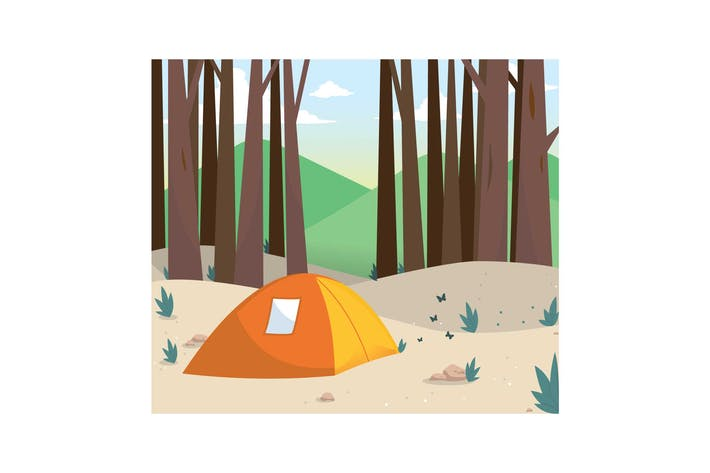 Thumbnail for Camping in the Forest Illustration