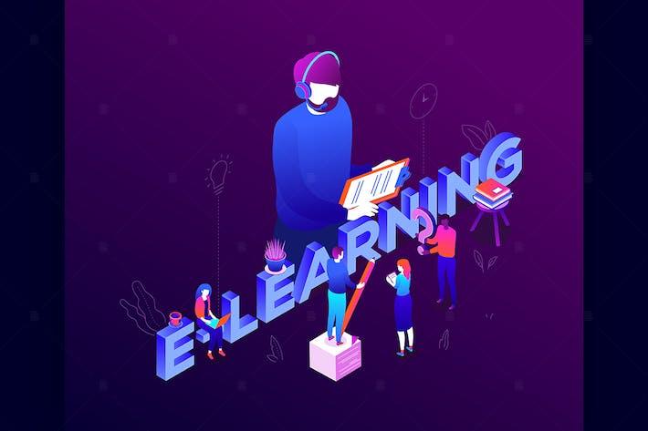 Thumbnail for E-learning - colorful isometric illustration