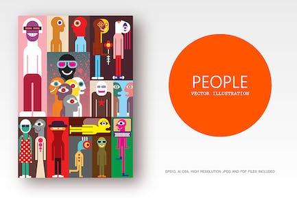 Группа людей плоский стиль вектор иллюстрация
