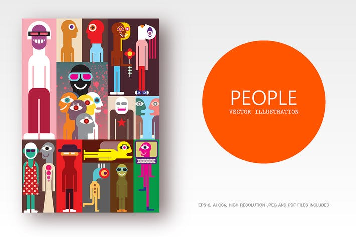 Cover Image For Group of people flat style vector illustration