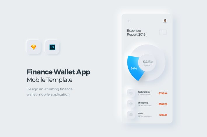 Thumbnail for Finance Wallet Mobile App UI Kit Template
