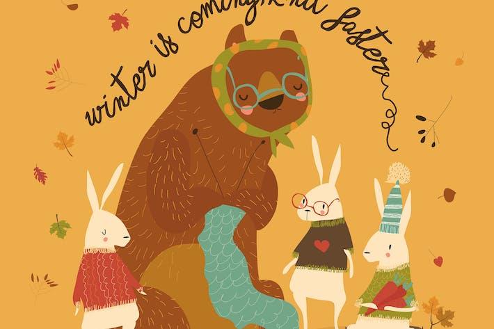 Thumbnail for Cartoon funny bear knit for cute rabbits. Vector