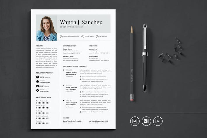 Thumbnail for Professional CV Resume Indesign Template Vol.45