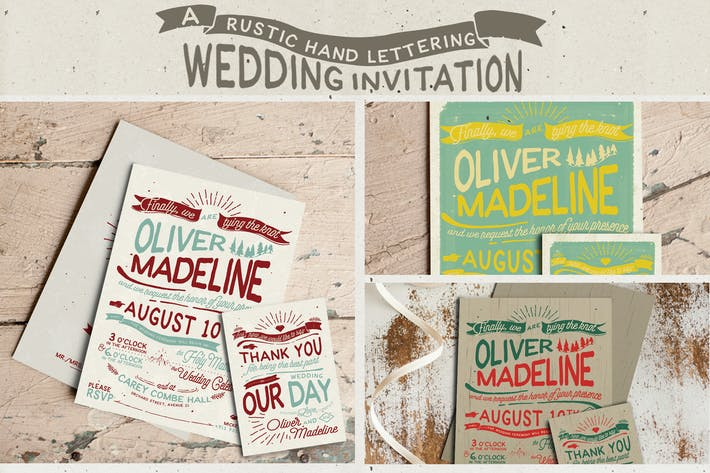 Thumbnail for Rustic Hand Lettering Wedding Invitation