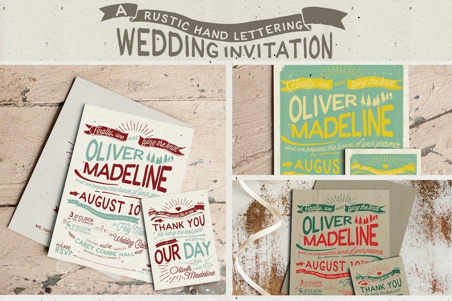 Rustic Hand Lettering Wedding Invitation