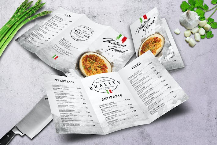 Thumbnail for Trifold A4 & US Letter Trifold Food Menu V2