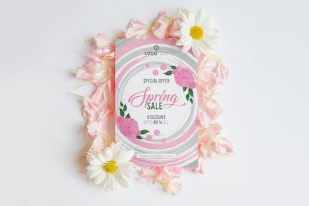 Vintage Rosa/Grau Frühlingsposter mit Rosen