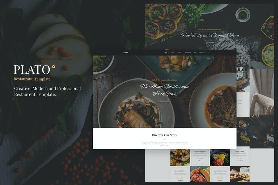 Plato - Restaurant & Food One Page HTML5 Template