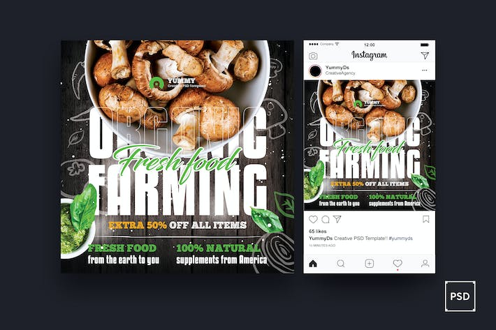 Thumbnail for Organic Farming Square Flyer & Instagram Post