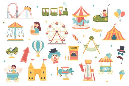 Amusement Park Isolated Objects Set