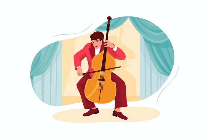 Thumbnail for Male artist playing big violin Illustration