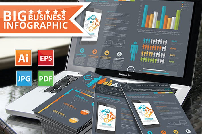 Thumbnail for Infographic Elements Design on Dark Background