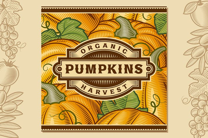 Thumbnail for Retro Pumpkin Harvest Label