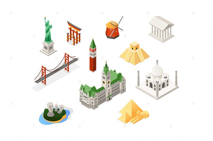 Thumbnail for World famous landmarks - isometric set of objects