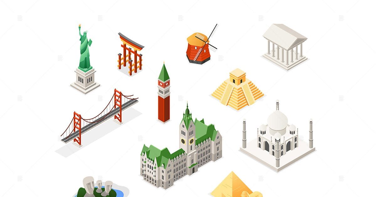 Download World famous landmarks - isometric set of objects by BoykoPictures