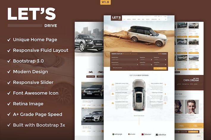 Thumbnail for Let's Drive HTML5 Template