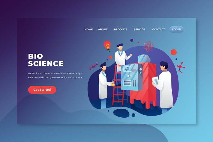 Thumbnail for Bio Science - PSD and AI Vector Landing Page