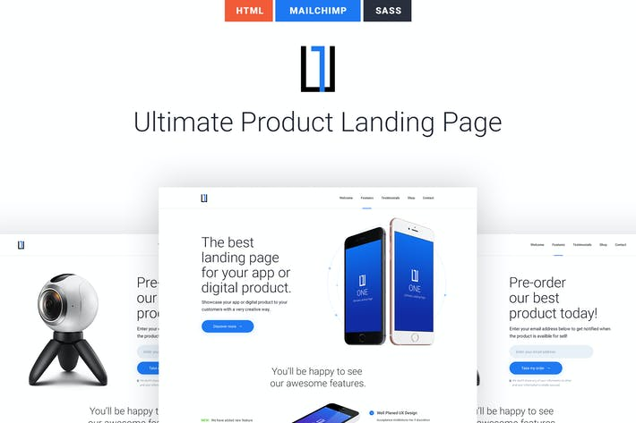 Cover Image For One - HTML Product Landing Page