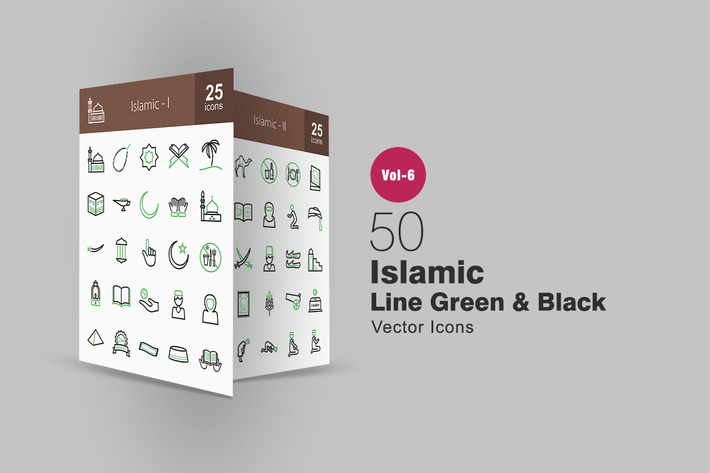 Thumbnail for 50 Islamic Green & Black Line Icons