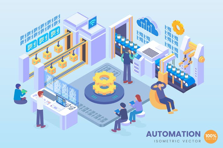 Thumbnail for Isometric Industry 4.0 Automation Vector Concept