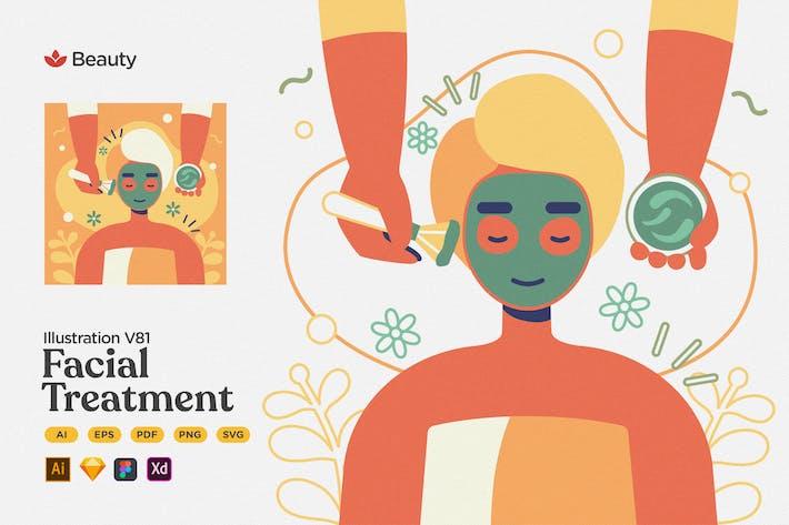 Beauty - Facial Treatment Flat Illustration