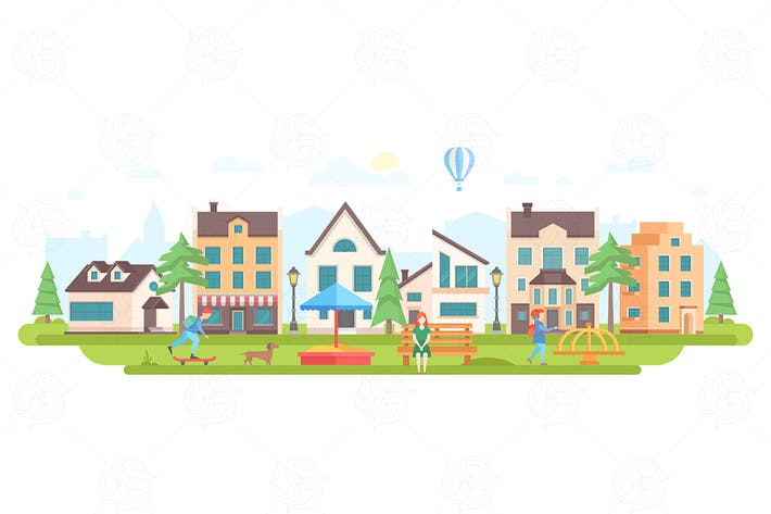 Thumbnail for Urban district - flat design vector illustration