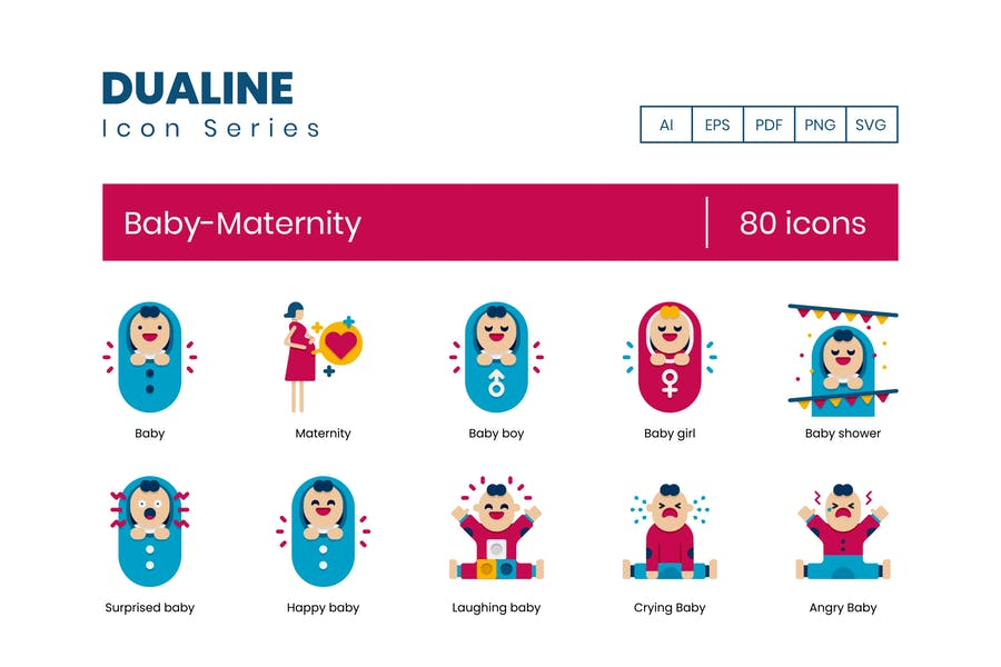 80 Baby-Maternity  Icons - Dualine Flat Series
