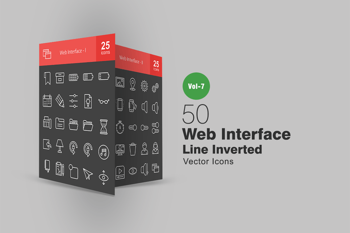 Thumbnail for 50 Web Interface Line Inverted Icons