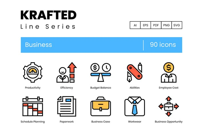 Thumbnail for 90 Business Icons | Krafted Line Series