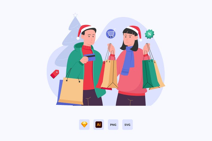 Thumbnail for Couple shopping christmas sale Vector Illustration