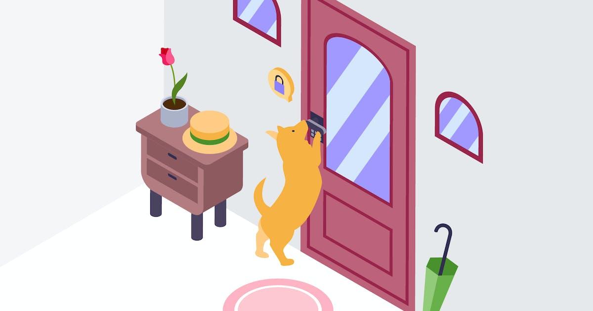 Download Animal Door Alarm Isometric Illustration by angelbi88