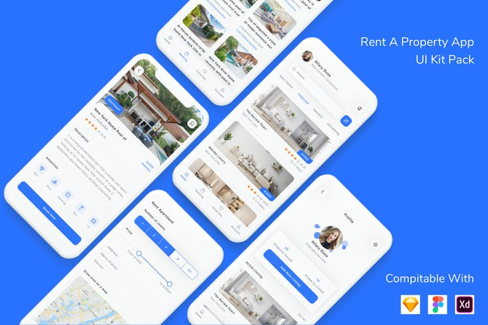 Thumbnail for Rent A Property App UI Kit Pack